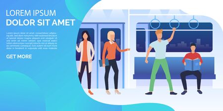 Men and women sitting, standing and reading in subway train. Passengers, commuters, metro. Public transport concept. Vector illustration can be used for web page design, poster or banner templates