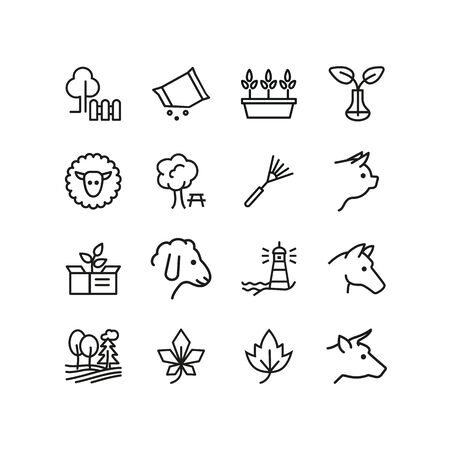 County life line icon set. Cow, pig, field, tree. Country concept. Can be used for topics like farming, village, agriculture