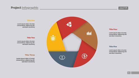 Donut-Diagramm mit fünf Abschnitten. Infochart, Swot-Analyse, Folienvorlage. Referenzdatenkonzept. Kann für Präsentationen, Layouts, Berichte verwendet werden