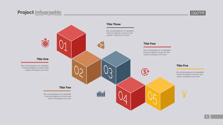 Five cubes process chart slide template. Business data. Stage, point, design. Creative concept for infographic, presentation. Can be used for topics like management, finance, teamwork.