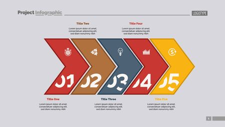 Five arrows process chart slide template. Business data. Point, number, design. Creative concept for infographic, presentation, report. Can be used for topics like management, finance, research.  イラスト・ベクター素材