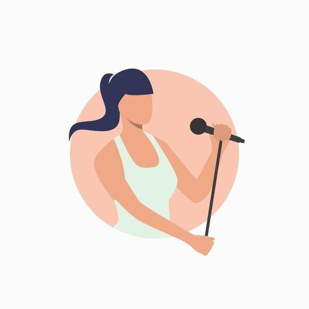 Woman singing with mic. Singer, nightclub, karaoke. Studio concept. Vector illustration can be used for topics like technology, leisure, hobby