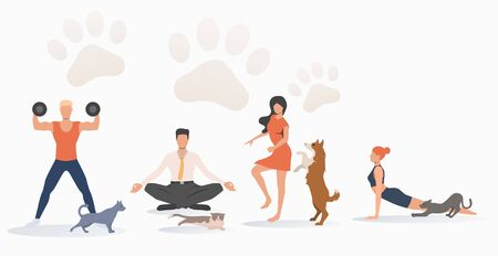 Cats and dogs owners training. Fun, animal, friend concept. Vector illustration can be used for topics like lifestyle, pet care, sport Illustration