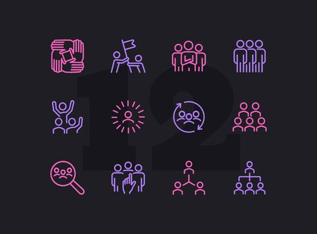 Team line icon set. Staff, success, personnel selection. Teamwork concept. Can be used for topics like friendship, collaboration, working together Illustration