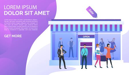 People standing and taking selfie photo near shop front. Fashion outlet, boutique concept. Poster or landing template. Vector illustration for topics like business, shopping, sale Stock Illustratie