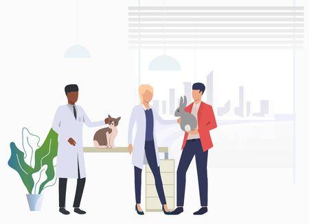 Propriétaire de chat et de lapin visitant des vétérinaires dans une clinique vétérinaire. Traitement des animaux de compagnie, consultation, concept de soins aux animaux. L'illustration vectorielle peut être utilisée pour des sujets tels que la santé, la clinique vétérinaire, le vétérinaire Vecteurs