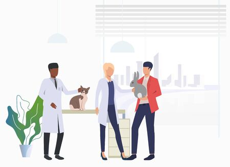 Cat and rabbit owner visiting veterinarians in vet clinic. Pet treatment, consultation, animal care concept. Vector illustration can be used for topics like health, vet clinic, veterinary