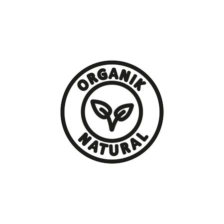 Organic badge line icon. Nature, ecologically friendly, product. Organics concept. Vector illustration can be used for topics like environment, ecology, food