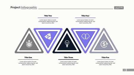Five step triangle infographic template. Business data. Process, layout, design. Creative concept for infographic, presentation, report. For topics like marketing, workflow, analysis 일러스트