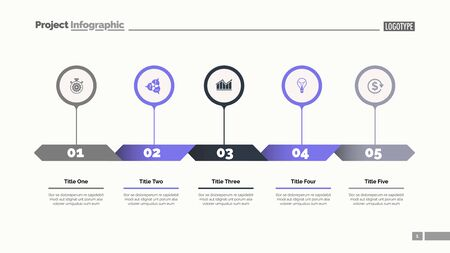 Five options process chart slide template. Business data. Strategy, diagram, design. Creative concept for infographic, presentation. Can be used for topics like management, teamwork, planning. 일러스트