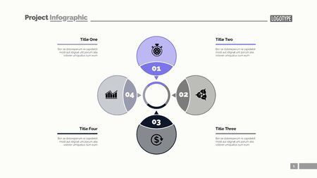 Four petals process chart slide template. Business data. Step, diagram, design. Creative concept for infographic, presentation. Can be used for topics like management, strategy, training.