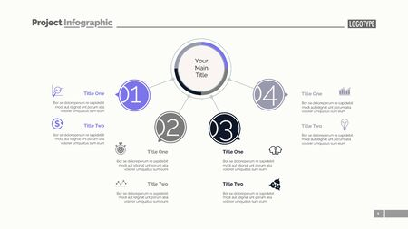 Four points process chart slide template. Business data. Flow, diagram, design. Creative concept for infographic, presentation. Can be used for topics like management, recruitment, consulting.