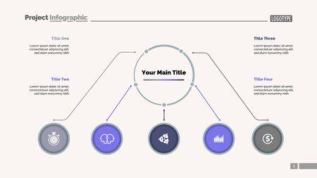 Flowchart with five elements slide template. Business data. Option, infochart, design. Creative concept for infographic, presentation, report. For topics like management, education, business idea