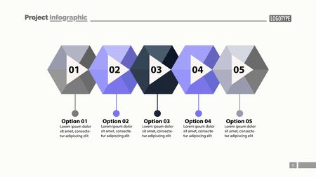 Five steps process chart slide template. Business data. Flow, diagram, design. Creative concept for infographic, presentation. Can be used for topics like marketing, marketing, production.