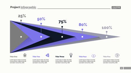 Five triangles percentage chart slide template. Business data. Percent, stage, design. Creative concept for infographic, presentation, report. For topics like finance, analytics, statistics. Ilustracja