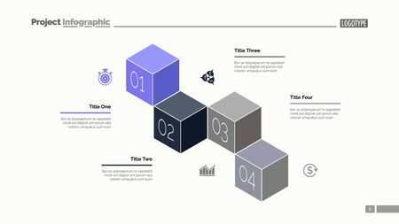 Four cubes process chart slide template. Business data. Option, diagram, design. Creative concept for infographic, presentation. Can be used for topics like management, finance, training.