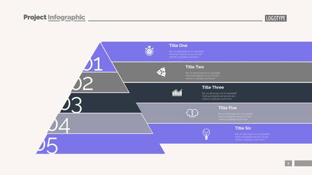 Marketing pyramid slide template. Business data. Graph, diagram, design. Creative concept for infographic, report. Can be used for topics like hierarchy, consequence, number options Illustration