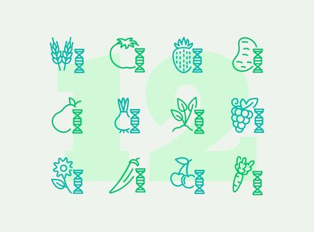 Genetically modified food line icon set. Gene, grain, fruit, vegetables. Food concept. Can be used for topics like genetics, agriculture, GM food Çizim