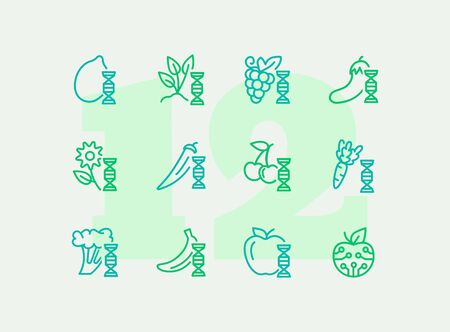Genetically modified food line icon set. Improver berry, apple, carrot. Food concept. Can be used for topics like science, agriculture, harvest, farming