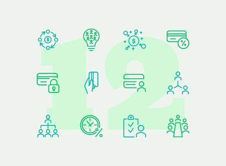 Finance consulting line icon set. People, flowchart, credit card. Business concept. Can be used for topics like company structure, banking, expertise Banco de Imagens - 129247319