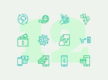 Finance management line icon set. Income, mobile payment, credit card. Business concept. Can be used for topics like banking, budget, spending money Illustration