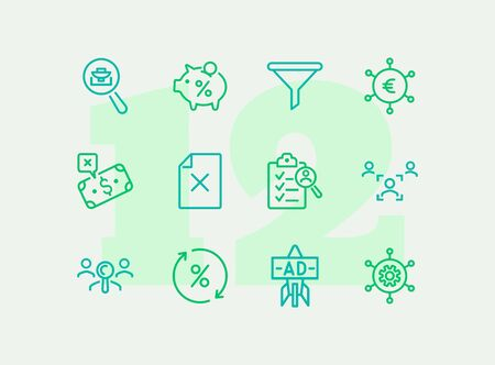 Finding investors line icon set. Portfolio, piggy bank, percentage. Business concept. Can be used for topics like finance, deposit, startup, investment