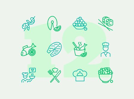 Fish restaurant line icon set. Fish, rice, shrimp. Food concept. Vector illustration can be used for topics like food product, supermarket, restaurant Иллюстрация