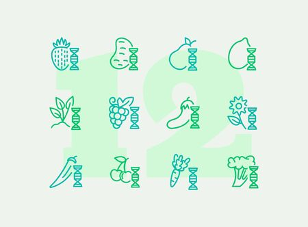 Genetically modified food line icon set. Strawberry, potato, banana. Food concept. Can be used for topics like harvest, farming, biotechnology Stock Illustratie