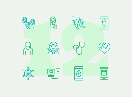 Healthcare line icon set. Pregnant woman, sore throat, test result. Medicine concept. Can be used for topics like medical consulting, examination, checking  イラスト・ベクター素材