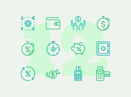 Money line icon set. Purse, safe, pos-terminal. Finance concept. Can be used for topics like currency exchange, saving, investment, payment Ilustrace