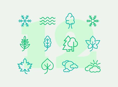 Nature icons. Set of line icons on white background. Wood, snowflake, overcast. Fall concept. Vector illustration can be used for topics like plants, weather, environment Ilustracja