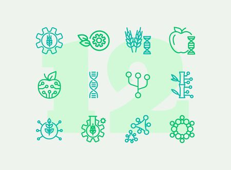 Agricultural technologies line icon set. Set of line icons on white background. Biotechnology concept. DNA structure, appe, chemistry. Vector illustration can be used for topics like science, biology, technology