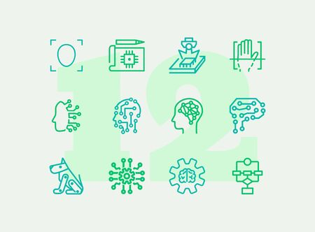 Artificial intelligence line icon set. Brain, gear, setting. Science concept. Vector illustration can be used for topics like shopping, wardrobe, winter Ilustracja