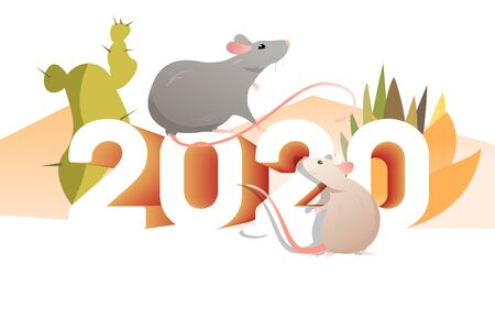 Couple of rats and cactuses. 2020, outdoors, Mexica. New Year vacation concept. Vector illustration can be used for topics like holiday, travel, tourism, Mexican vacation Иллюстрация