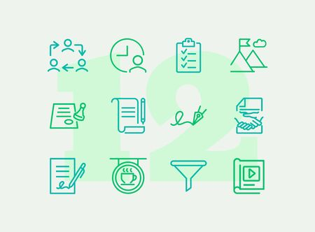 Startup line icon set. Contract, handshake, checklist. Business concept. Can be used for topics like deal, partnership, agreement