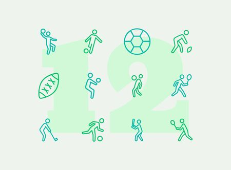 Ball games line icon set. Volleyball, football, soccer, rugby. Sport concept. Can be used for topics like sportsman, athlete, activity