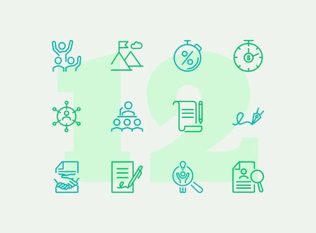 Business success line icon set. Win, peak with flag, agreement. Business concept. Can be used for topics like leadership, contract, deal
