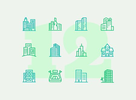 City in Europe line icon set. Building, house, skyscraper. Architectrure concept. Vector illustration can be used for topics like consctruction, design, building Foto de archivo - 129247466