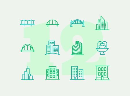 City line icon set. Bridge, building, office. Architecture concept. Can be used for topics like landmark, business center, downtown 写真素材 - 129247463
