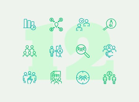 Company staff line icon set. People, team, search. Business concept. Can be used for topics like human resource, personnel, selection Çizim