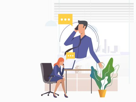 Office workers speaking on mobile phones. Man, woman, speech bubble, workplace. Communication concept. illustration can be used for topics like phone talk, negotiation, dialogue