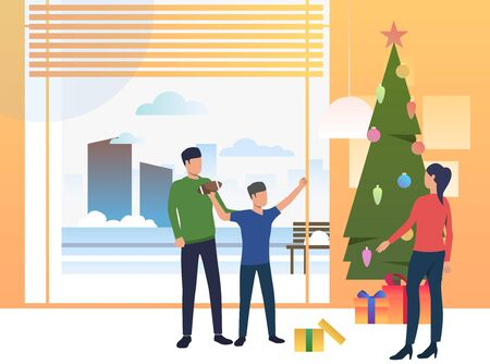 Parents and child giving Xmas gifts. Decorated tree, boy, present. Christmas concept. illustration can be used for topics like Xmas, holiday, family