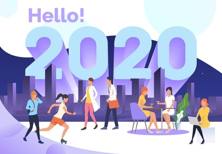 People enjoying urban activities in city park. Hello 2020 concept. Vector illustration can be used for topics like presentation slide or landing page design
