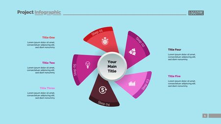 Five fan blades process chart slide template. Business data. Workflow, step, design. Creative concept for infographic, presentation, report. For topics like management, production, planning.
