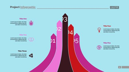 Bar graph with five arrows. Diagram, comparison graph, correlations. Marketing concept. Can be used for annual reports, business and finance presentations, web design Ilustração