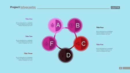 Tabla de proceso de cinco círculos. Datos comerciales Paso, diagrama, diseño. Concepto creativo para infografía, plantillas, presentación, informe. Se puede utilizar para temas como marketing, capacitación, finanzas. Ilustración de vector