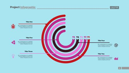 Circle chart with five elements. Process chart, option graph, diagram. Creative concept for infographics, presentation, project, report. Can be used for topics like management, workflow, marketing.
