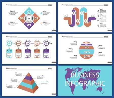 Zestaw kreatywnych projektów biznesowych infografiki może służyć do raportu rocznego, projektowania stron internetowych, układu przepływu pracy. Koncepcja przepływu pracy. Opcja, Venn, cykl, wykresy pierścieniowe, wykres słupkowy, schemat blokowy Ilustracje wektorowe