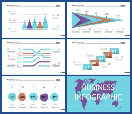 Creative business infographic diagram set can be used for annual report, web design, workflow layout. Marketing concept. Option venn, process, percentage chart, bar graph, area chart, timeline Standard-Bild - 128516219