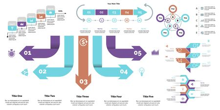 Creative infographic diagrams with geometric elements for project management concept. Can be used for business project, annual report, web design. Process chart, option chart, flowchart, donut diagram Standard-Bild - 128516223